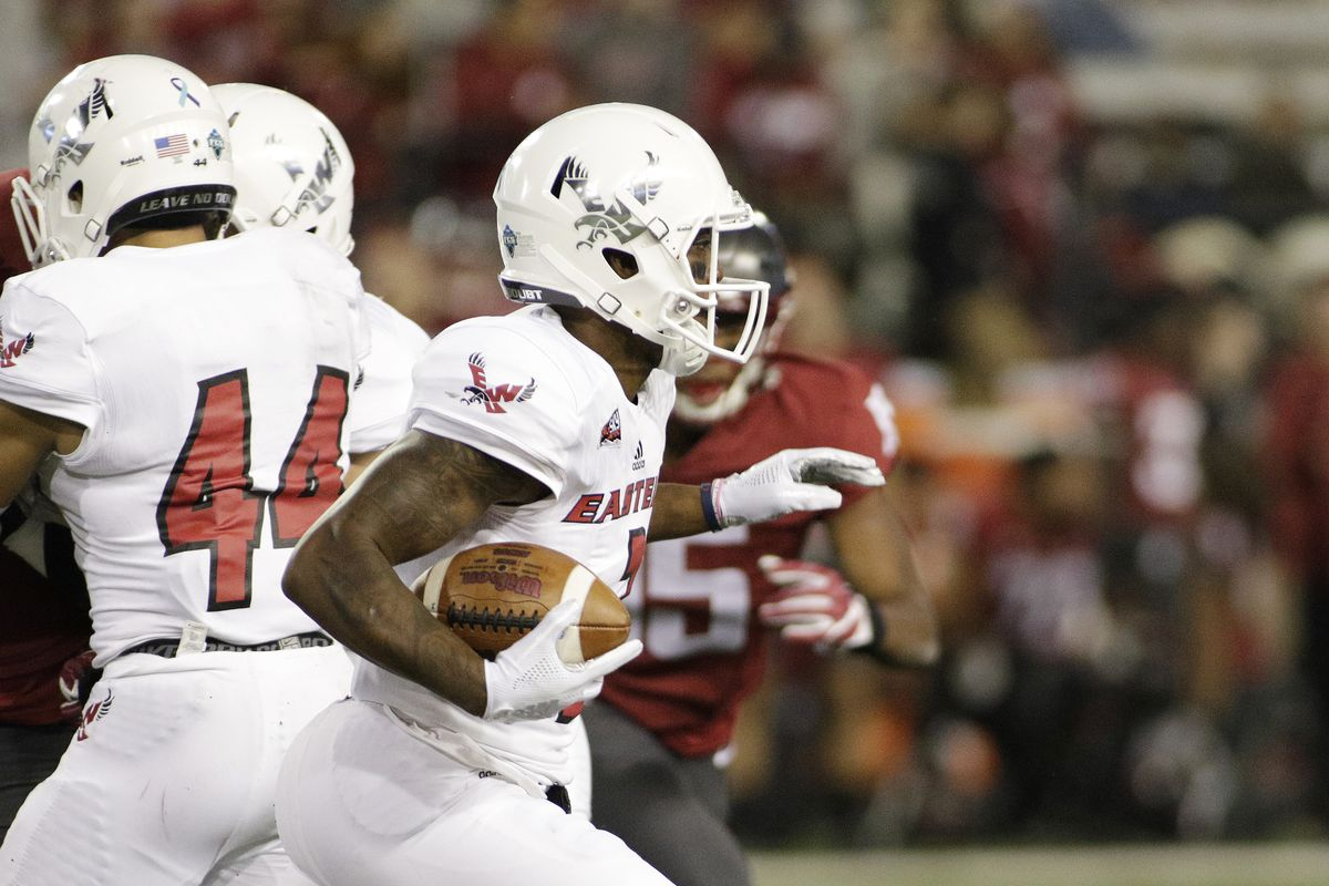 FILE: Eastern Washington quarterback Eric Barriere runs with the ball during the second half of an NCAA college football game against Washington State in Pullman, Wash., Saturday, Sept. 15, 2018. (AP Photo/Young Kwak)