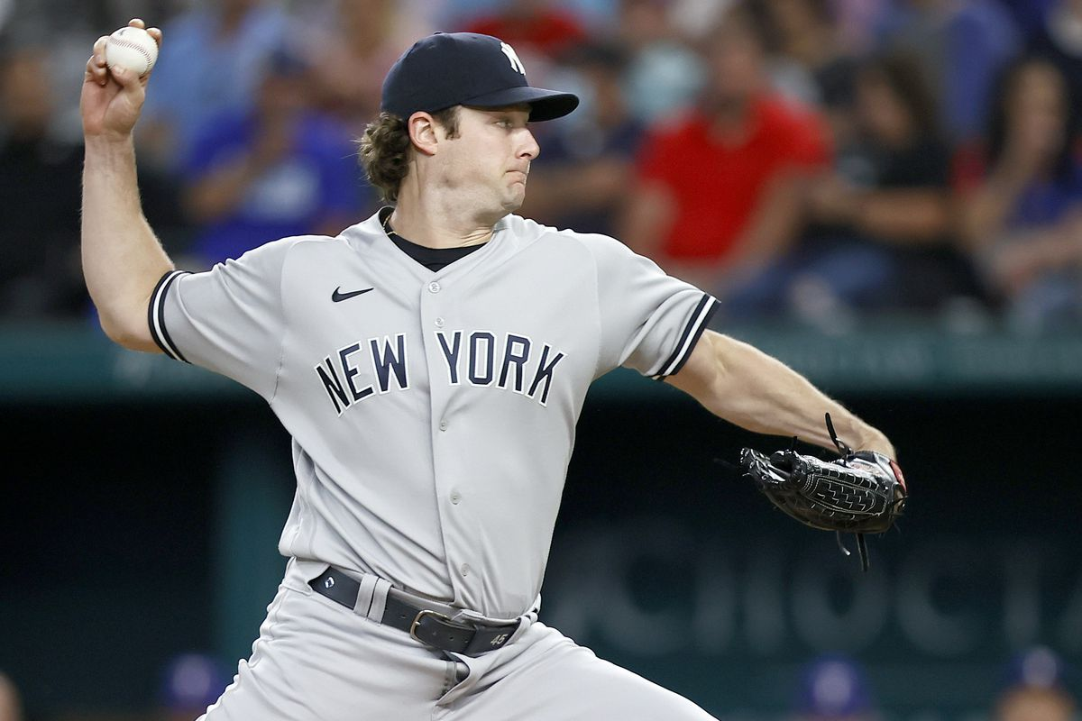 Gerrit Cole #45 of the New York Yankees pitches against the Texas Rangers in the bottom of the first inning at Globe Life Field on May 17, 2021 in Arlington, Texas.
