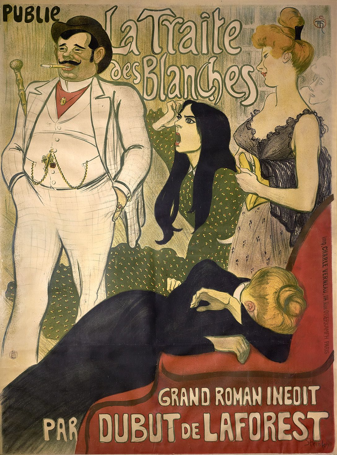 """Theophile-Alexandre Steinlen's advertisement for the serial novel, """"La Traite des Blanches"""" (""""The White Slave Trade""""). (Photo: Courtesy of the Richard H. Driehaus Museum)"""