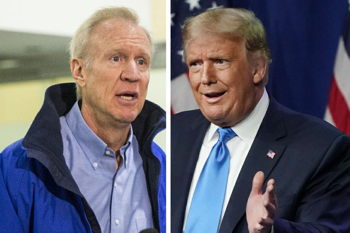 Gov. Bruce Rauner, left, talks to reporters in 2018; President Donald Trump, right, speaks during the first day of the Republican National Convention in August.