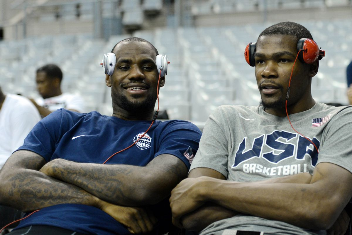 July 23, 2012; Barcelona, SPAIN; USA players LeBron James (left) and Kevin Durant (right) sit on the bench after practice in preparation for the 2012 London Olympic Games at Palau Sant Jordi.  Mandatory Credit: Jerry Lai-US PRESSWIRE