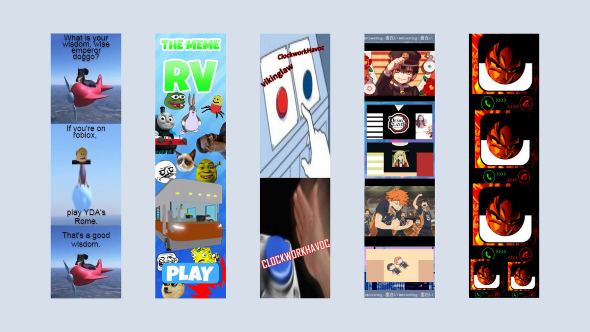 Five tower ads. One has a 3D modeled dog flying on an airplane, another has a ton of memes on it like Shrek and Doge, another has the two button meme on it, the fourth one has a bunch of anime images tiled, and the fifth is Goku trying to call you.