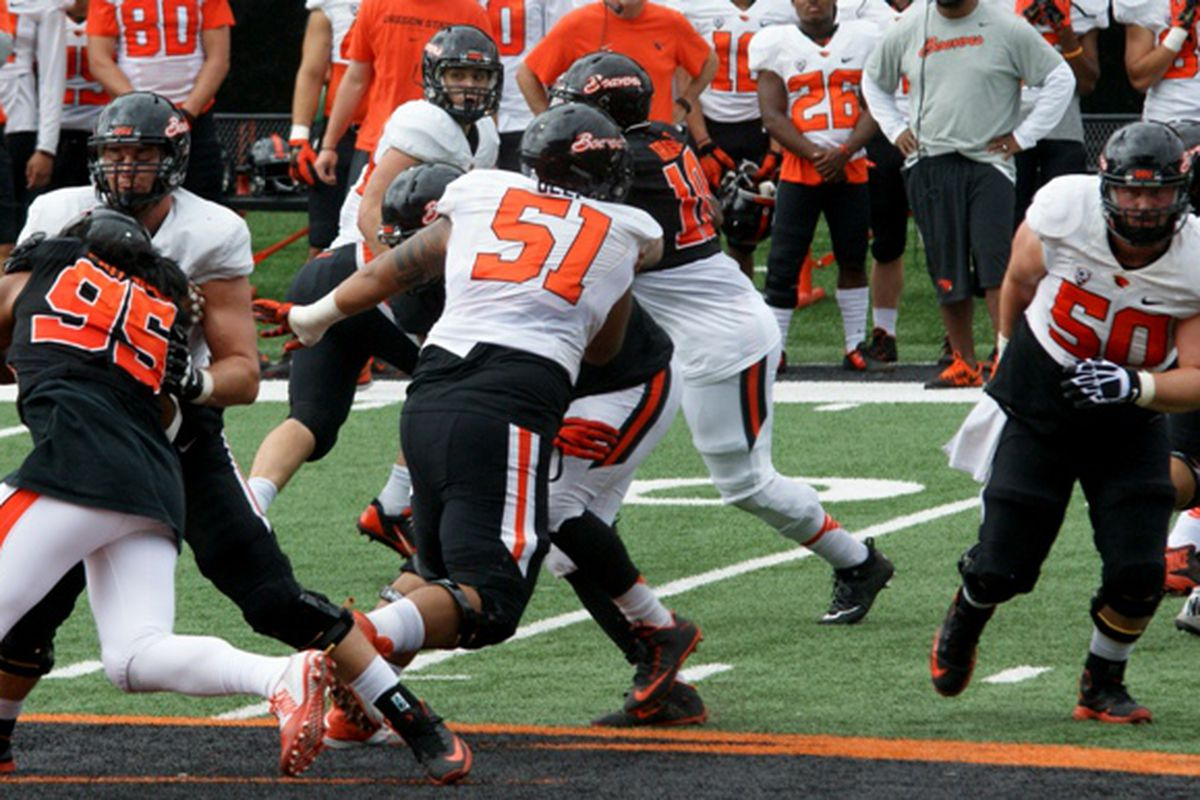 Oregon St.'s scrimmage saw the starters on the field briefly. Most of them, very briefly.