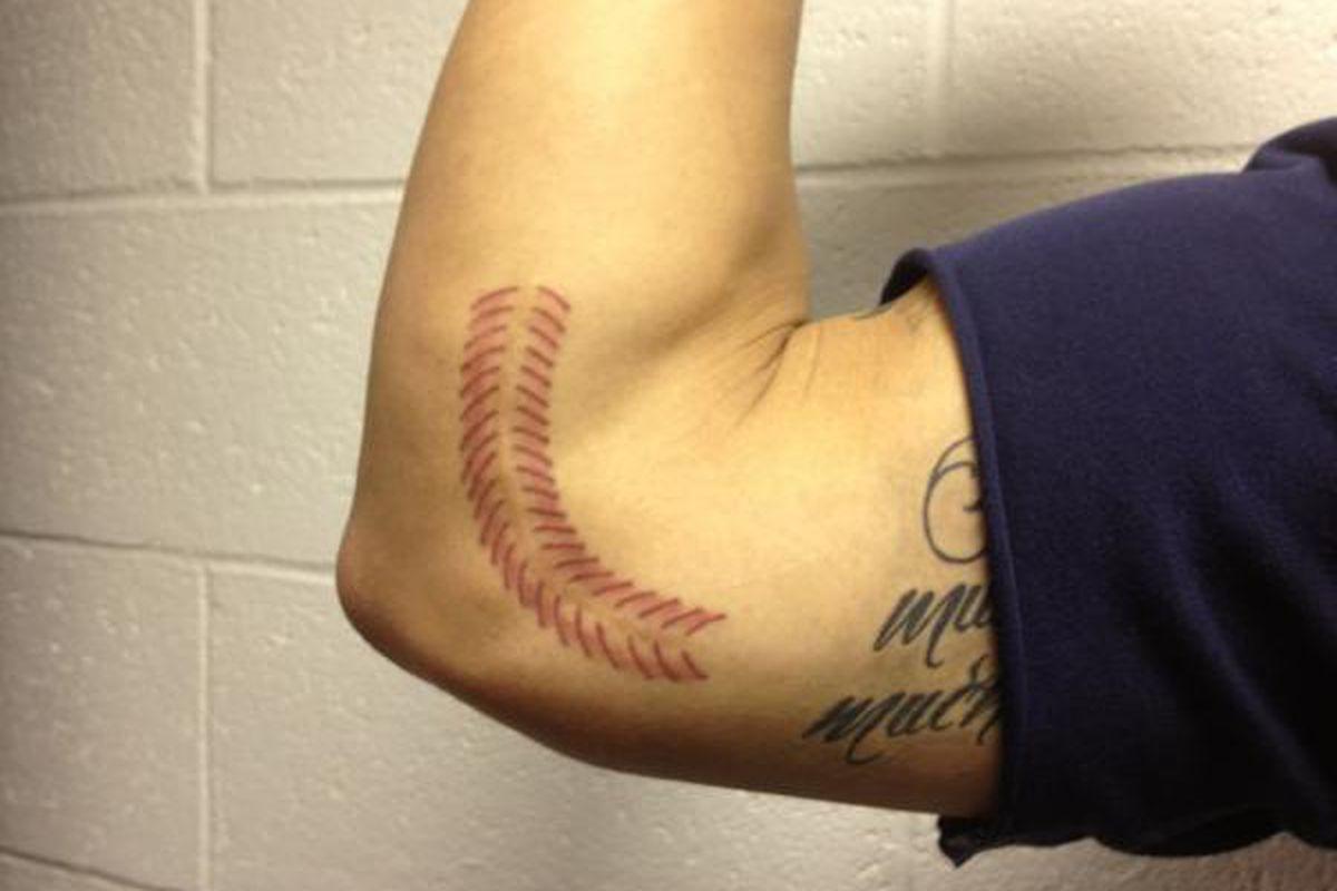 "Kyle Blanks tattooed seams of a baseball over his Tommy John surgery scar via <a href=""https://twitter.com/#!/FollowThePadres/status/174244909782544386"">@FollowthePadres</a>"