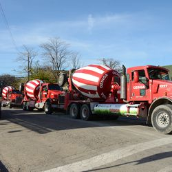 10:38 a.m. Concrete trucks staging on Patterson Avenue, just west of the ballpark -