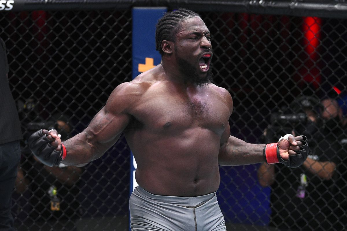 William Knight celebrates after his knockout over Cody Brundage in a light heavyweight bout during week five of Dana White's Contender Series season four at UFC APEX on September 01, 2020 in Las Vegas, Nevada.