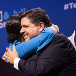 Gubernatorial candidate J.B. Pritzker and his running mate, State Rep. Juliana Stratton, celebrate his win.   Ashlee Rezin/Sun-Times