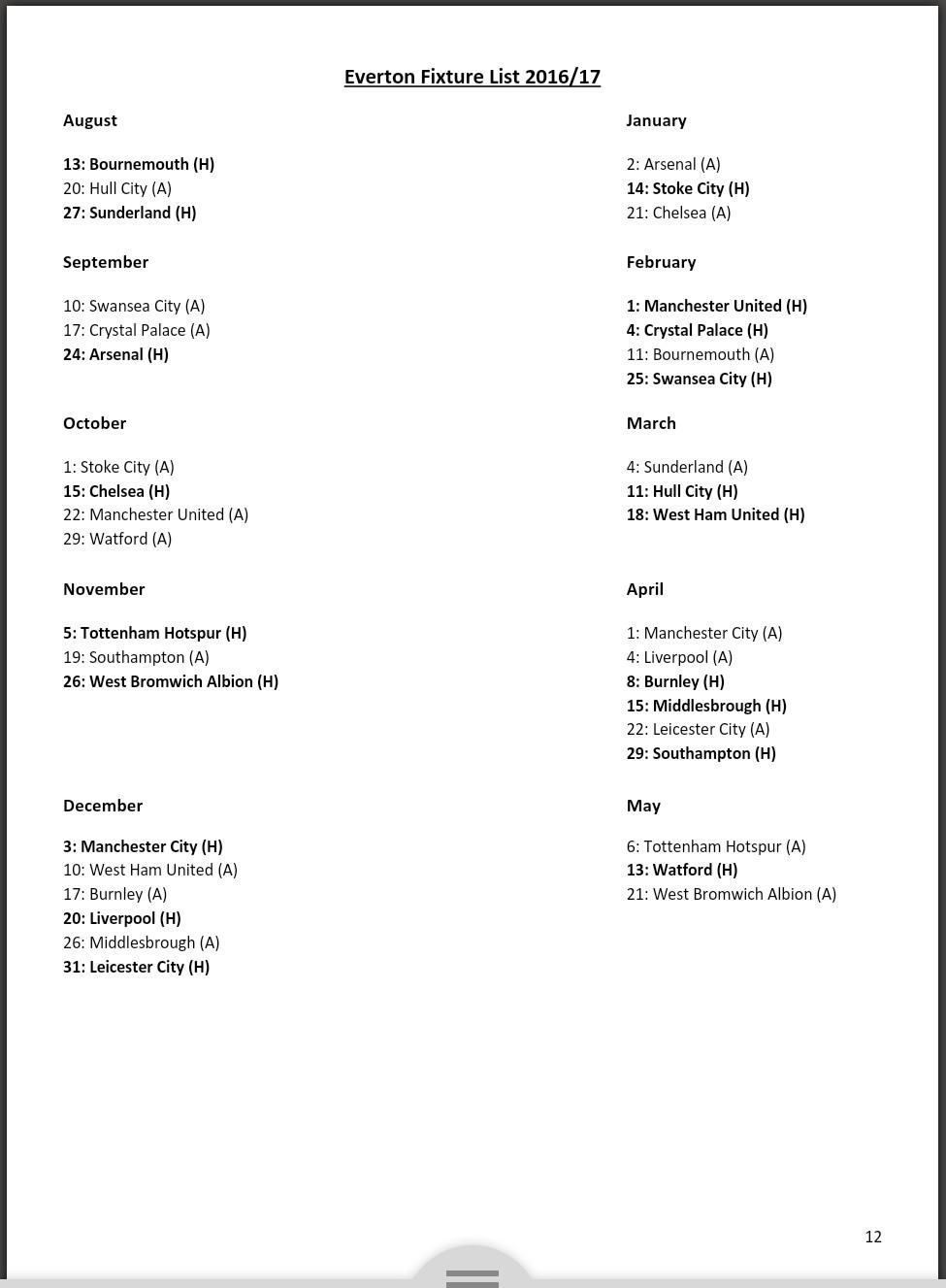 Leaked Everton 2016-17 schedule
