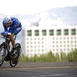 Utah's David Zabriskie races during the prologue of the 2009 Tour of Utah Tuesday evening. The 4.5 kilometer trip around Memory Grove starting and ending at the state Capitol kicked off the stage race, which features top domestic teams racing over six days through the Wasatch Front.