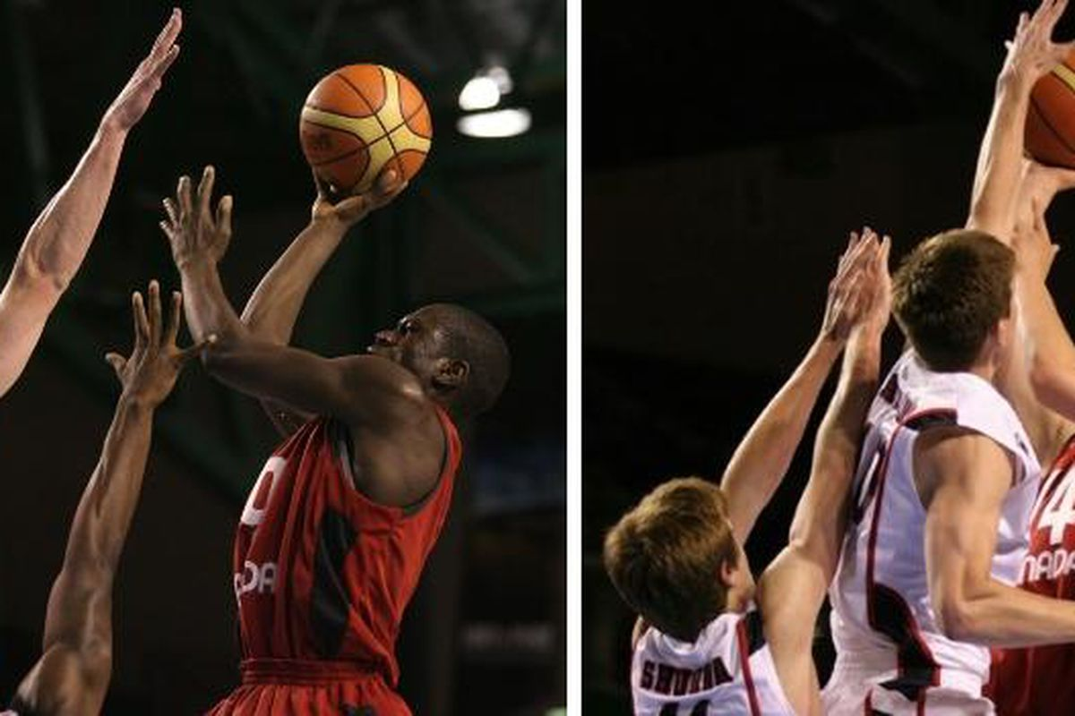 Mangisto Arop (left) and Kelly Olynyk recently finished up their international play in New Zealand.  The Nike Global Challenge awaits them in August before settling in at Gonzaga.