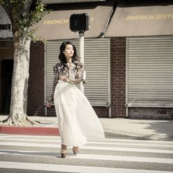 Vintage lace-embroidered crop top, white maxi skirt