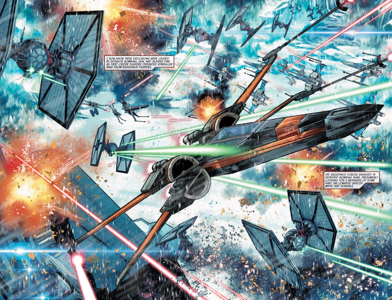 First Order TIE Advanced fighters duke it out with Resistance X-Wings over Starkiller Base.