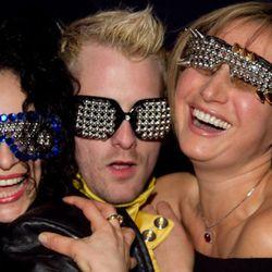 Stephan Keating (center) studs sunglasses