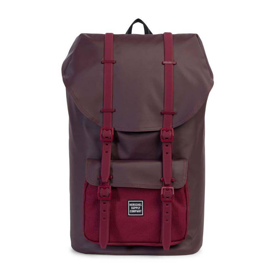 a burgundy backpack