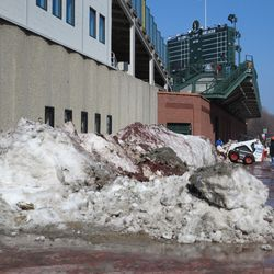 Snow piled up on Sheffield