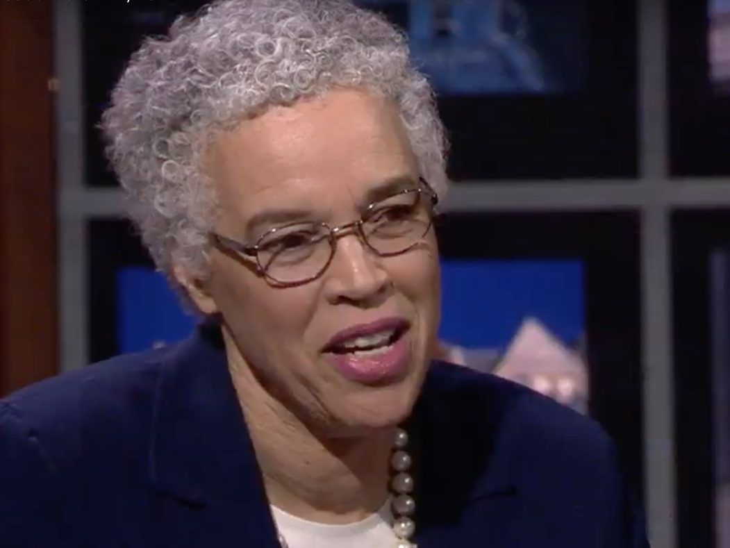 Mayoral candidate Toni Preckwinkle speaks during a debate with Lori Lightfoot Thursday night on WTTW-Channel 11. Screen image.