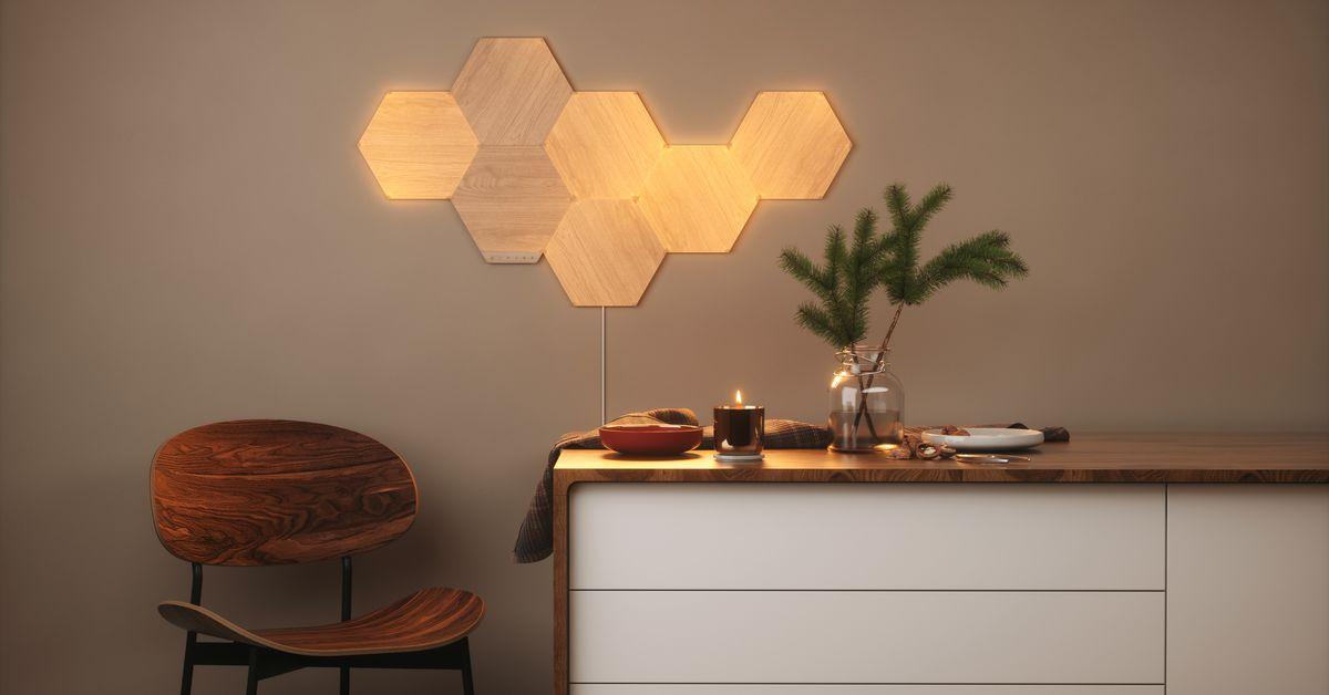 Nanoleaf's Elements Wood LED Wall Panels are  off