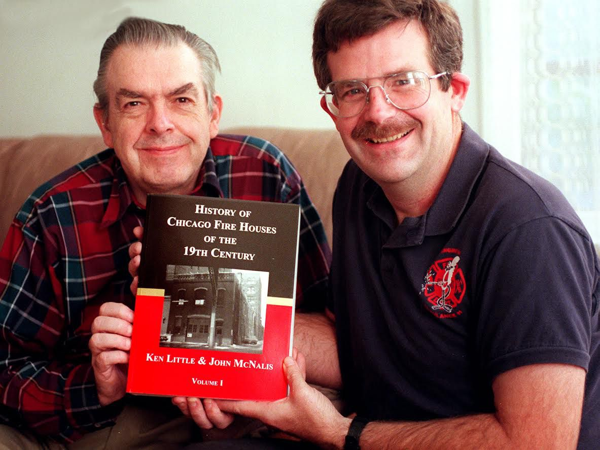 Ken Little (left) and the Rev. John McNalis co-authored books about Chicago firehouses.   Sun-Times files
