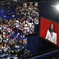 Mia Love, Utah 4th District congressional candidate, is seen on the big screen as she speaks at the Republican National Convention at the Tampa Bay Times Forum. Tuesday, Aug. 28, 2012.