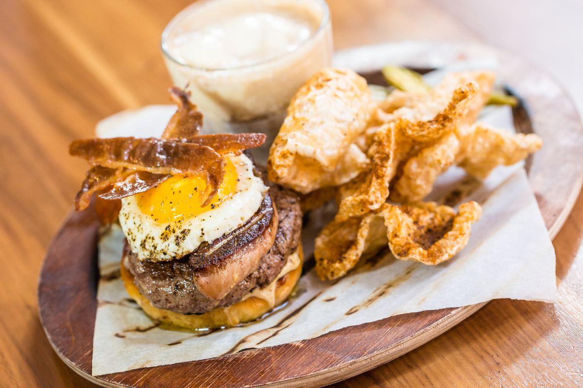 SoBou's epic foie gras burger with cracklins and foie gras ice cream float.