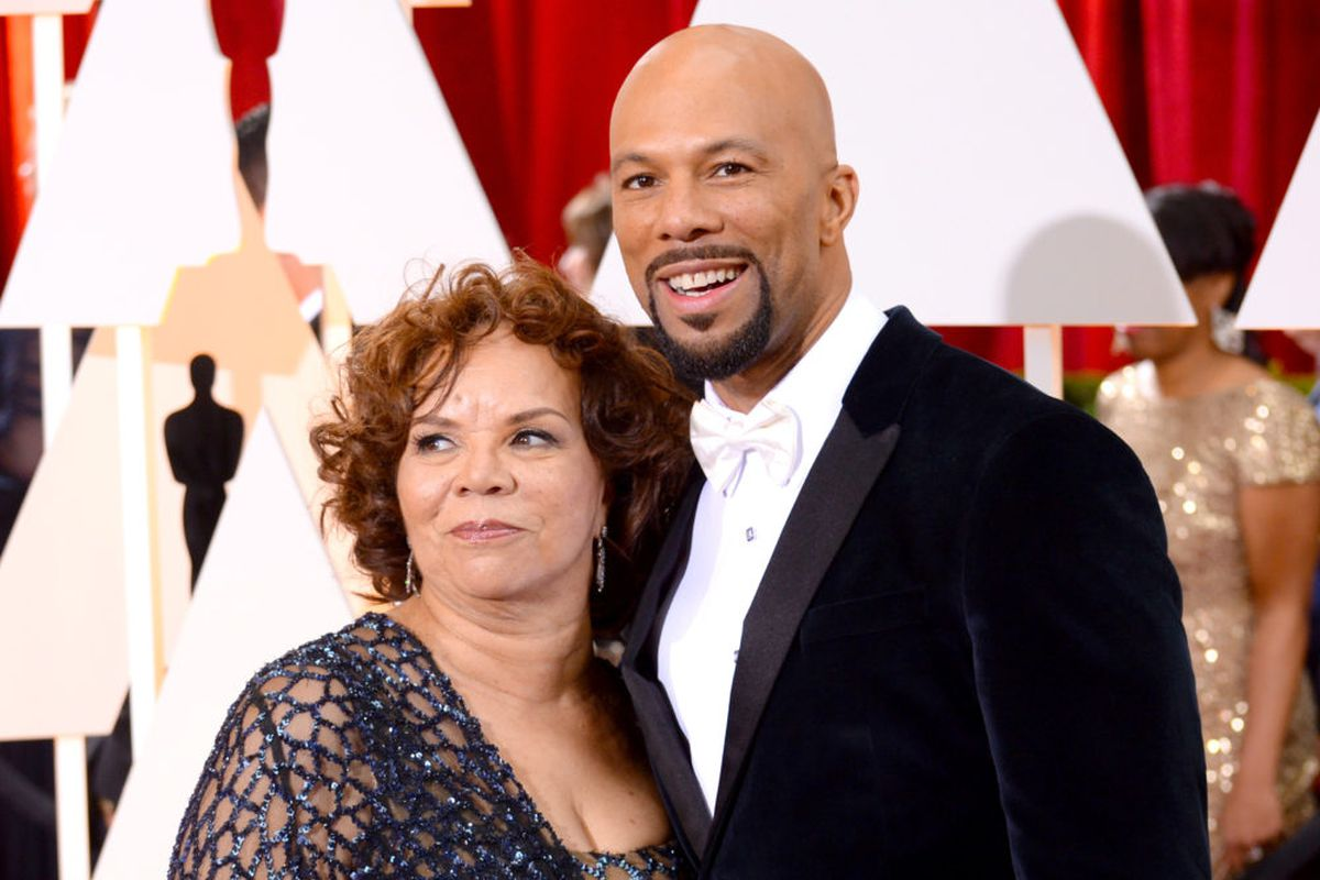 Chicago hip-hop artist Common and mother Mahalia Hines at the 87th Annual Academy Awards