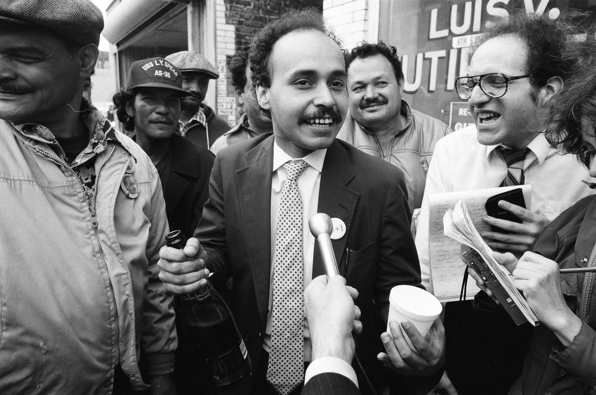 Luis Gutierrez celebrates winning a runoff election in 1986 for the 26th Ward City Council seat.
