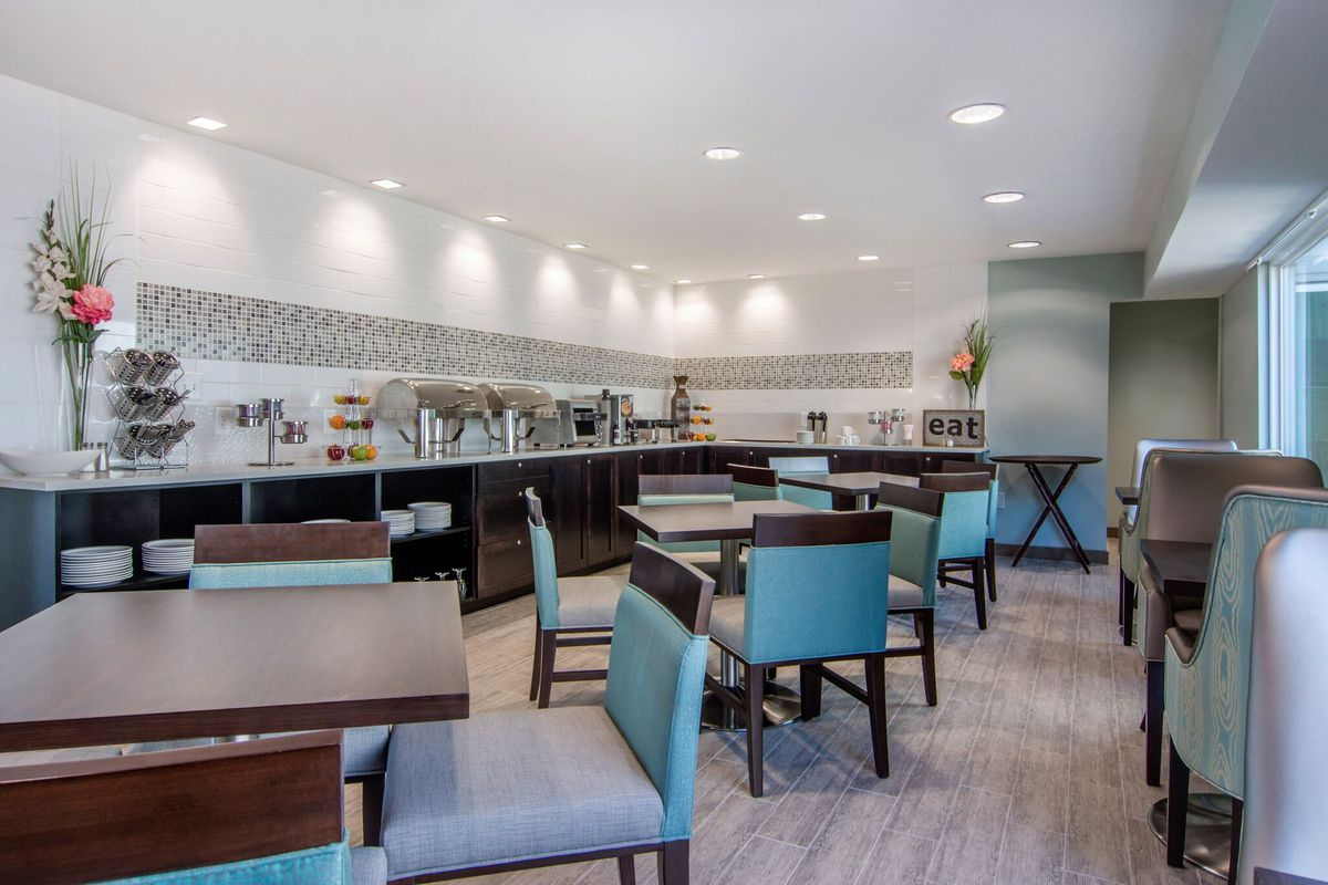 A photo of a communal dining area in the new hotel.
