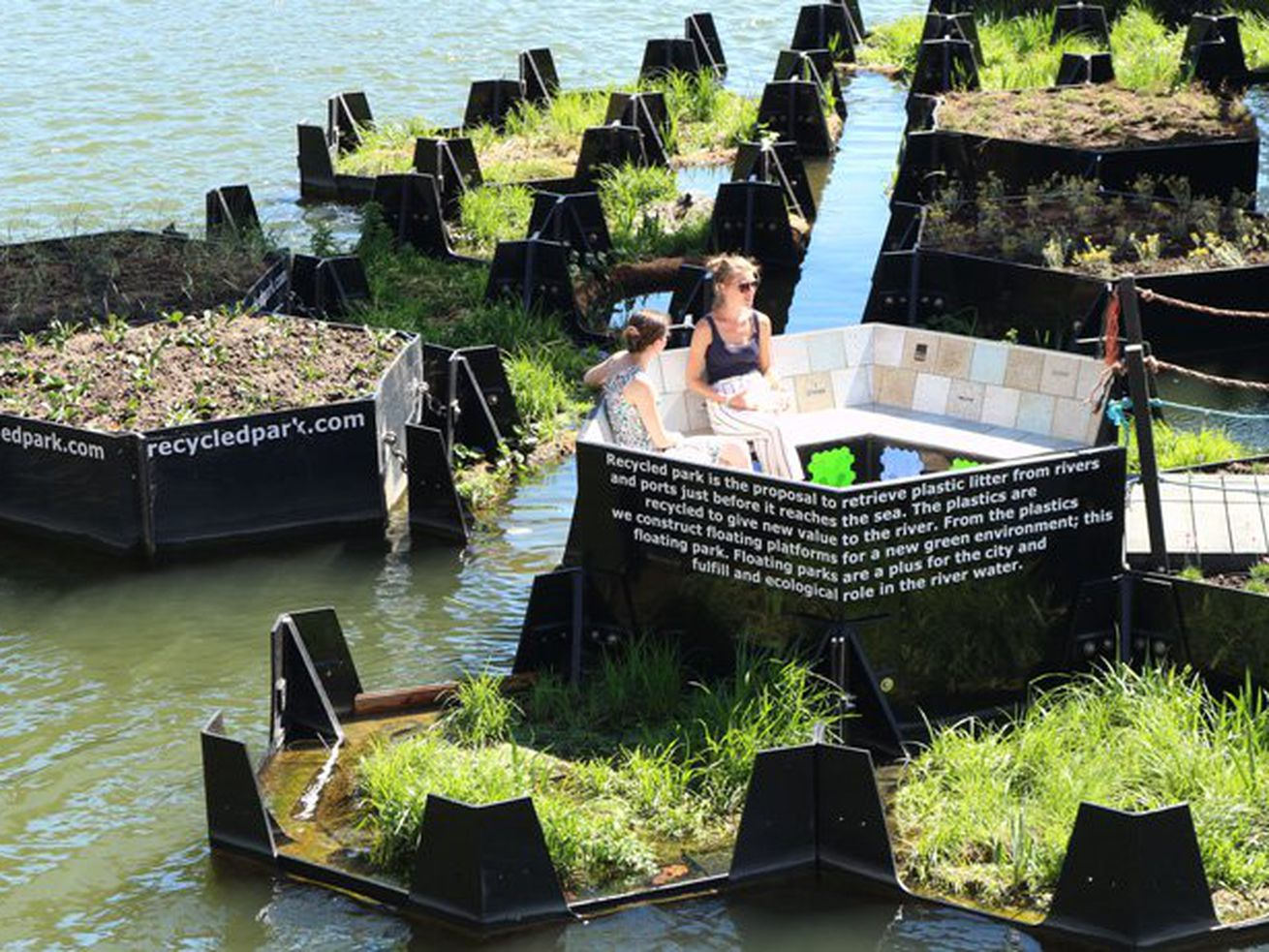 This floating park is made entirely from recycled plastic