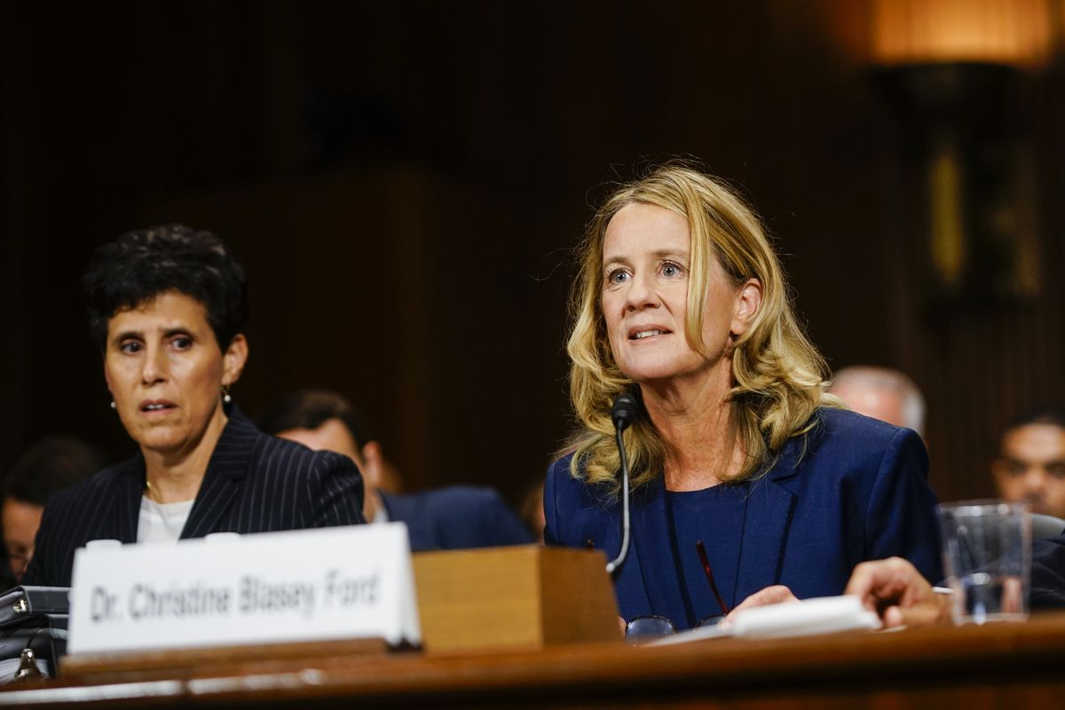 Dr. Christine Blasey Ford testifies before the Senate Judiciary Committee in September 2018. Her lawyer, Debra Katz, sits beside her.