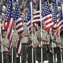 Boy Scouts at the Stadium of Fire at LaVell Edwards Stadium in Provo , Utah, Saturday, July 3, 2010. Matt Gillis, Deseret News