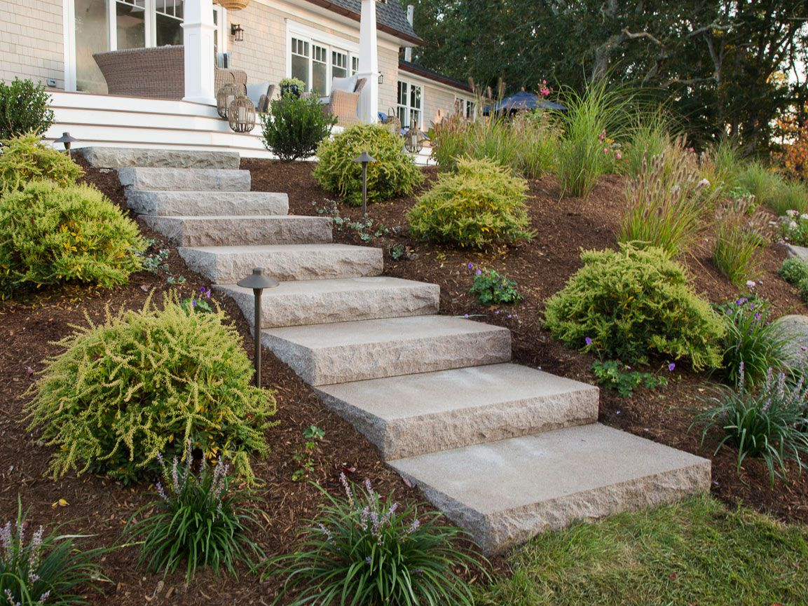 Concrete steps in a front yard