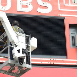 Maintenance being performed on the marquee -