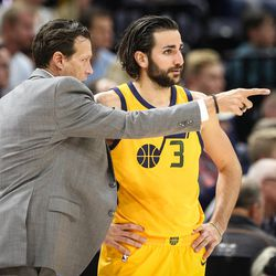 Utah Jazz head coach Quin Snyder gives direction to Utah Jazz guard Ricky Rubio (3) as the Utah Jazz host the Houston Rockets at Vivint Smart Home Arena in Salt Lake City on Thursday, Dec. 7, 2017.