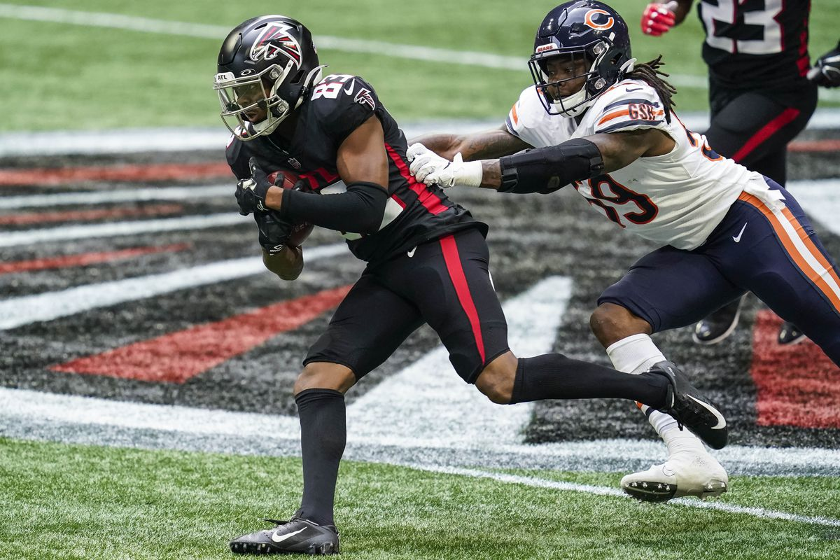 Atlanta Falcons wide receiver Russell Gage runs against Chicago Bears linebacker Danny Trevathan during the first half at Mercedes-Benz Stadium.