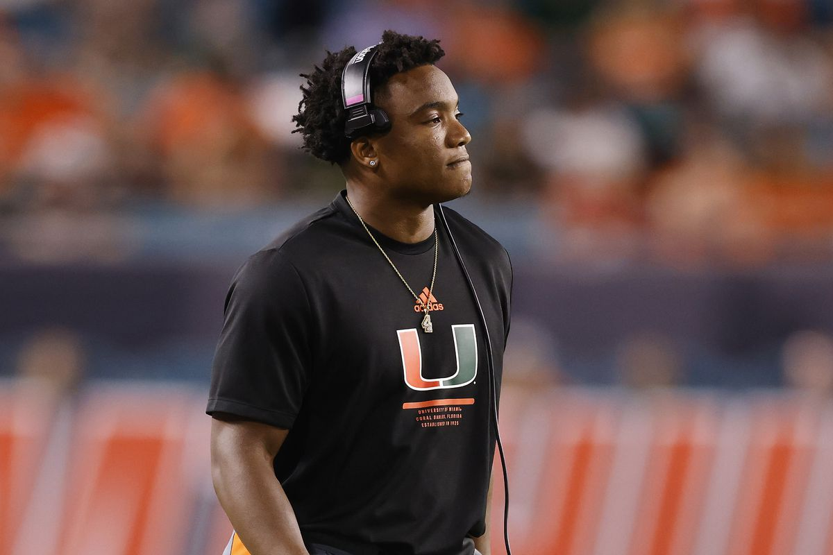 D'Eriq King #1 of the Miami Hurricanes looks on from the sideline during the first half against the Virginia Cavaliers at Hard Rock Stadium on September 30, 2021 in Miami Gardens, Florida.