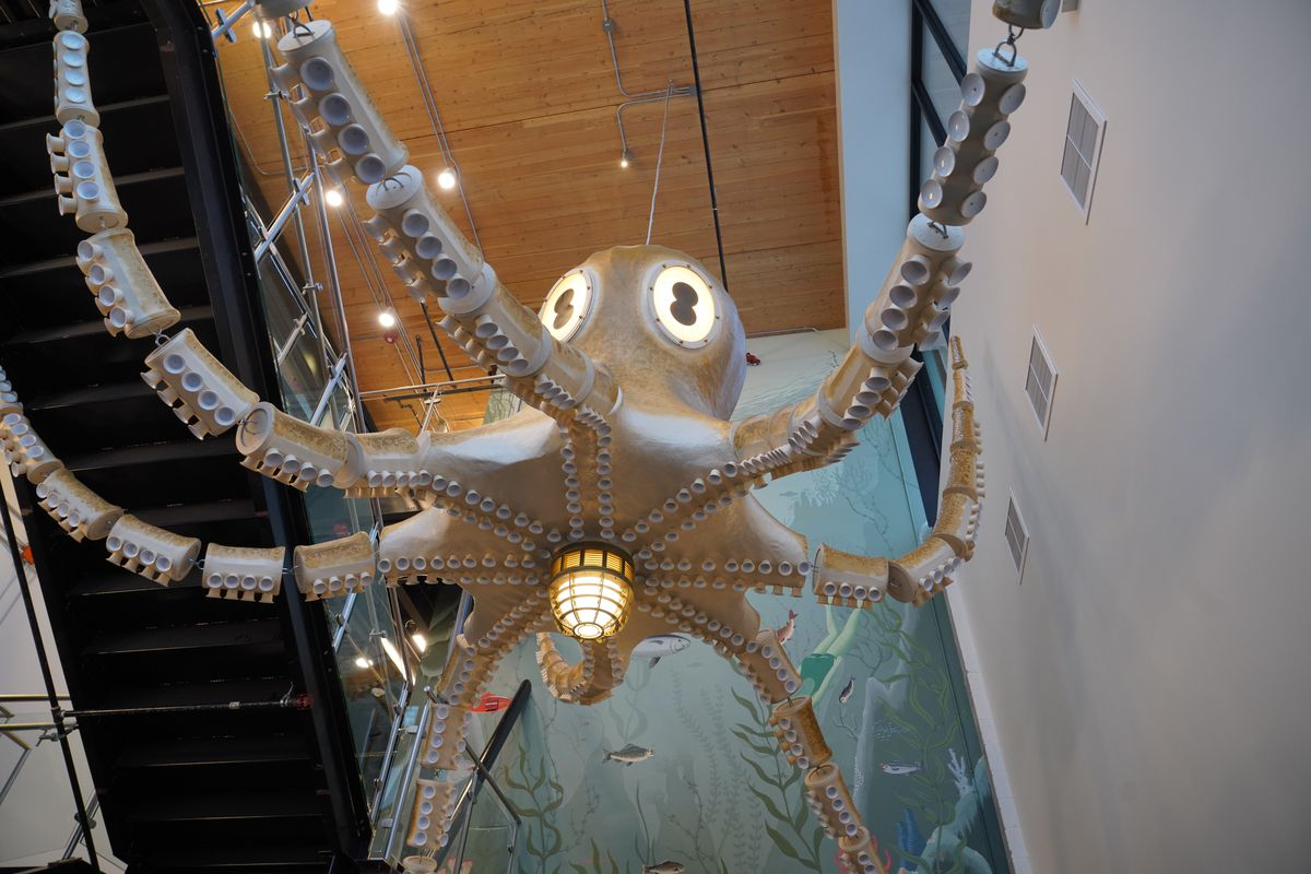 A giant octopus sculpture hangs from the ceiling at the new Ballard PCC Market.