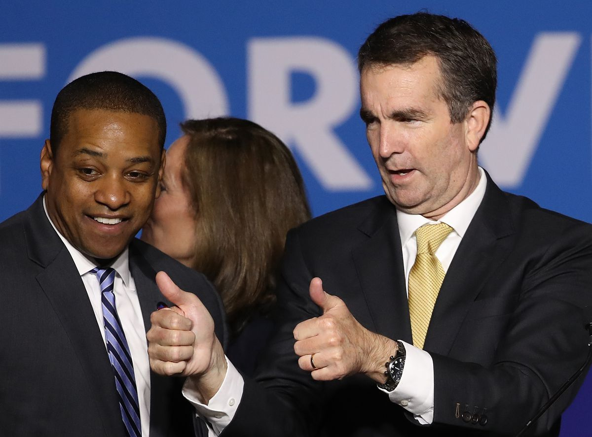 Ralph Northam gives thumbs-up sign