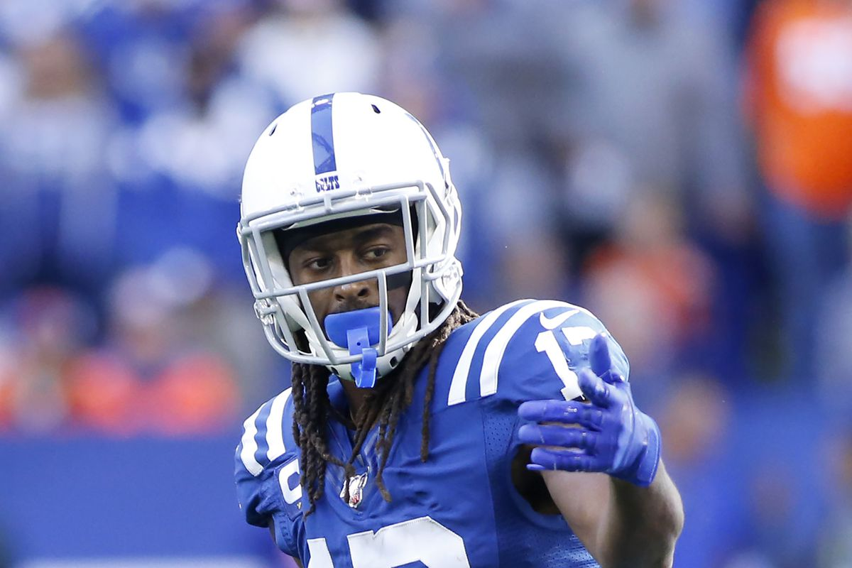 T.Y. Hilton of the Indianapolis Colts on the field in the game against the Denver Broncos at Lucas Oil Stadium on October 27, 2019 in Indianapolis, Indiana.