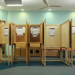Polling booths on May 5, 2011 in London, England.