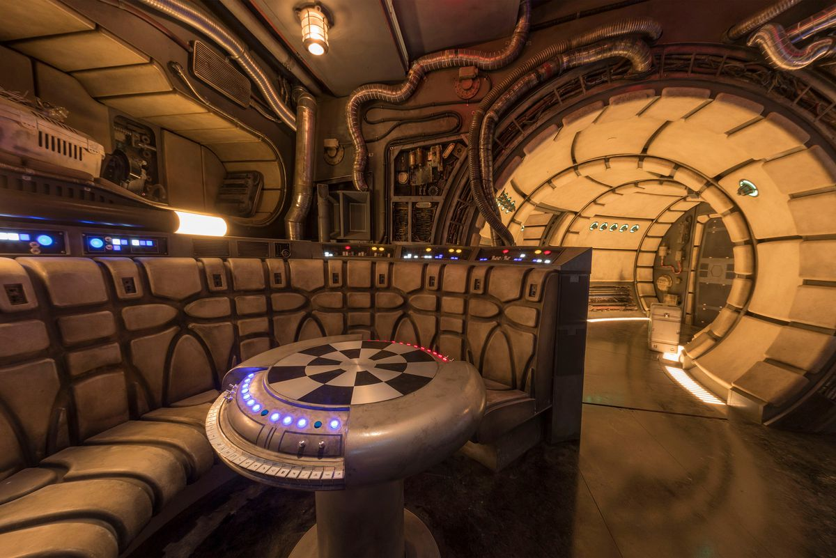 The queue leading up to Millennium Falcon: Smuggler's Run at Star Wars: Galaxy's Edge in Disneyland