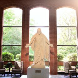 Christus in the sun light at the Nauvoo Visitors' Center.