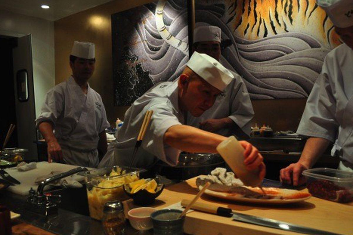 Behind the sushi bar at Toranoko, Little Tokyo.
