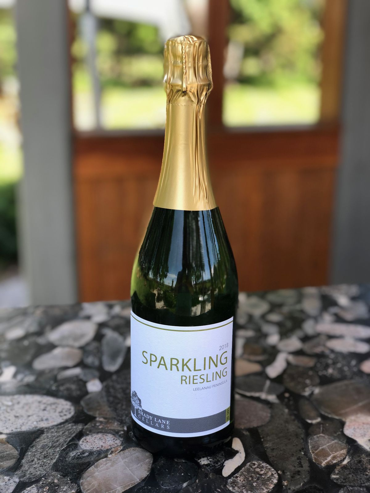 A bottle of sparkling riesling from Shady Lane Cellars.
