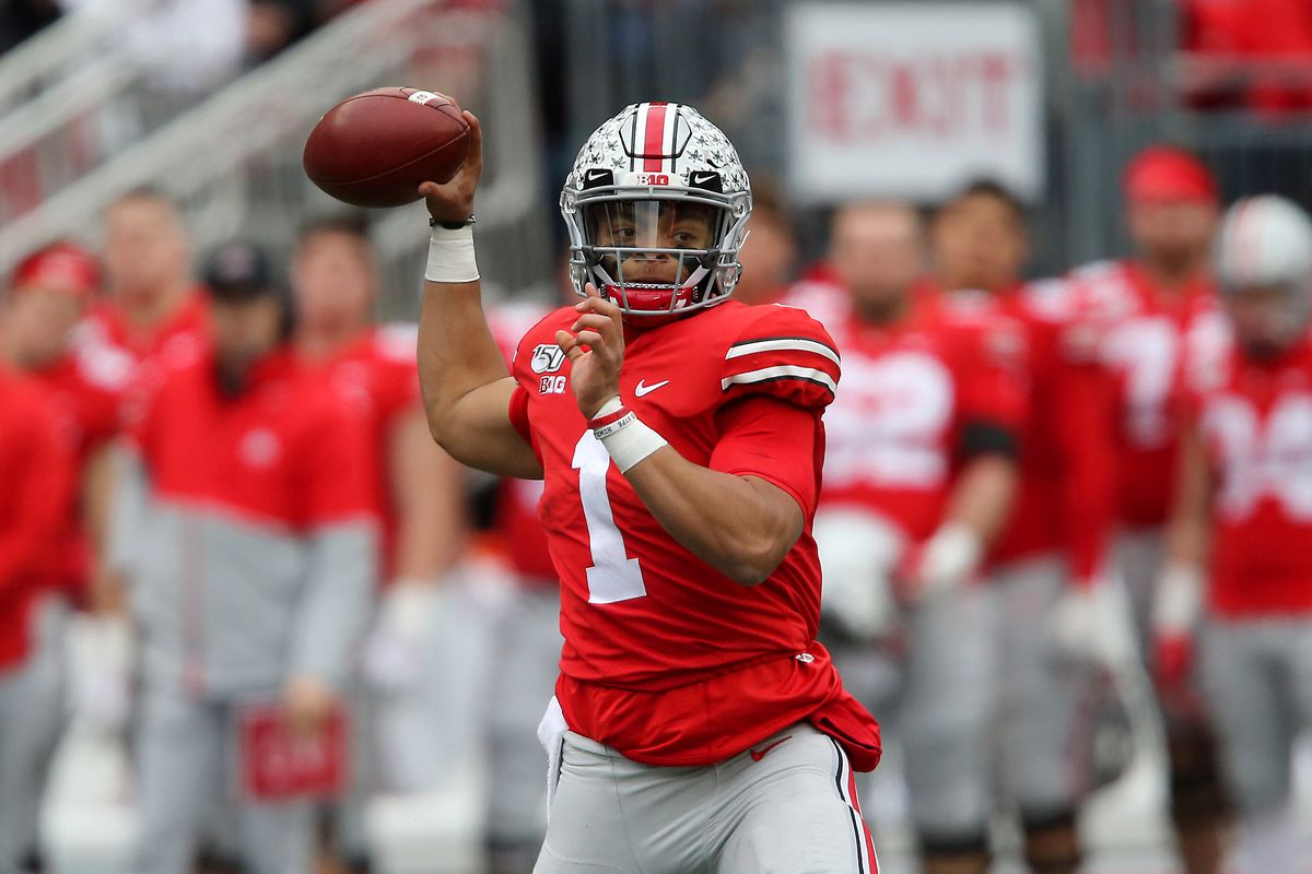 Ohio State Buckeyes quarterback Justin Fields drops to throw during the second quarter against the Penn State Nittany Lions at Ohio Stadium.