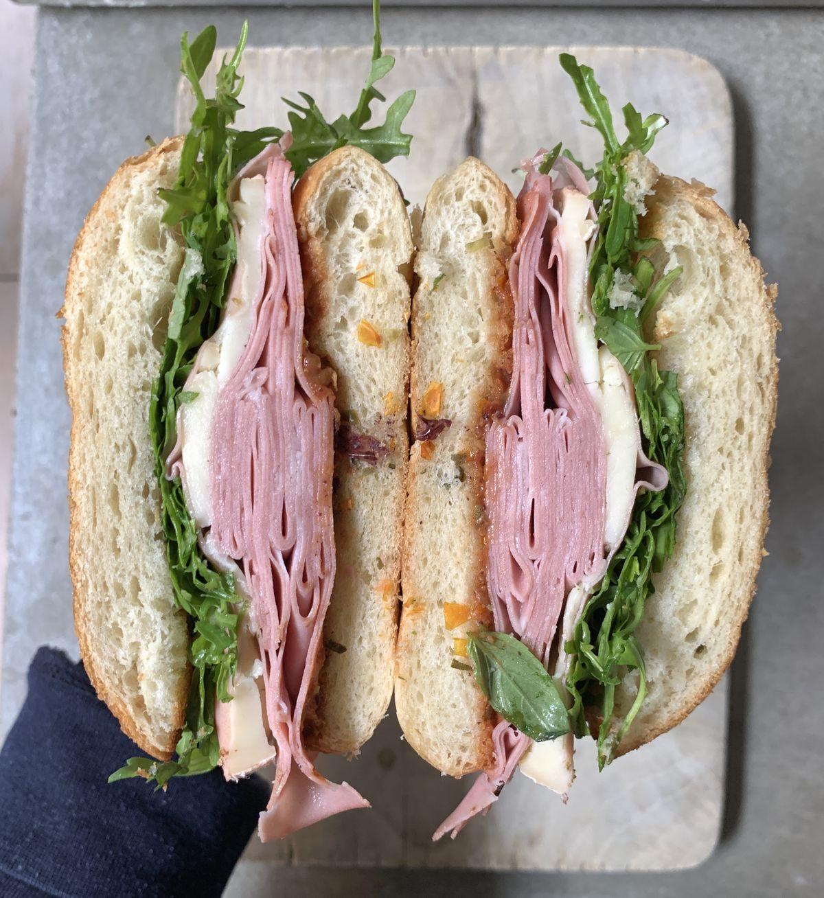 A mortadella and taleggio sandwich at new Coal Drops Yard restaurant Sons and Daughters
