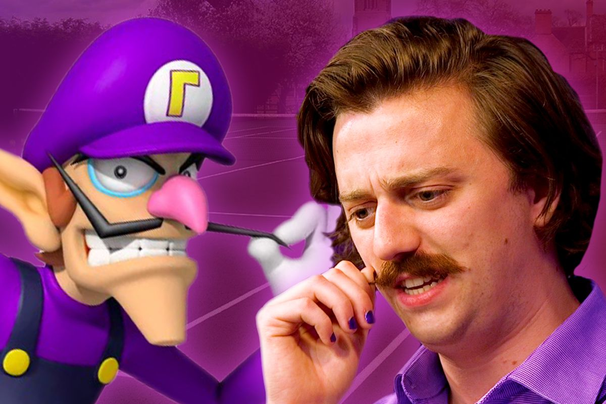 On the left, Waluigi twists his mustache menacingly. On the right, Brian David Gilbert twists his mustache confusedly.