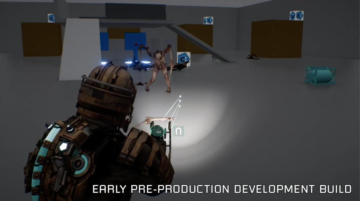 Imágenes del remake de Early Dead Space de disparar a un necromorfo