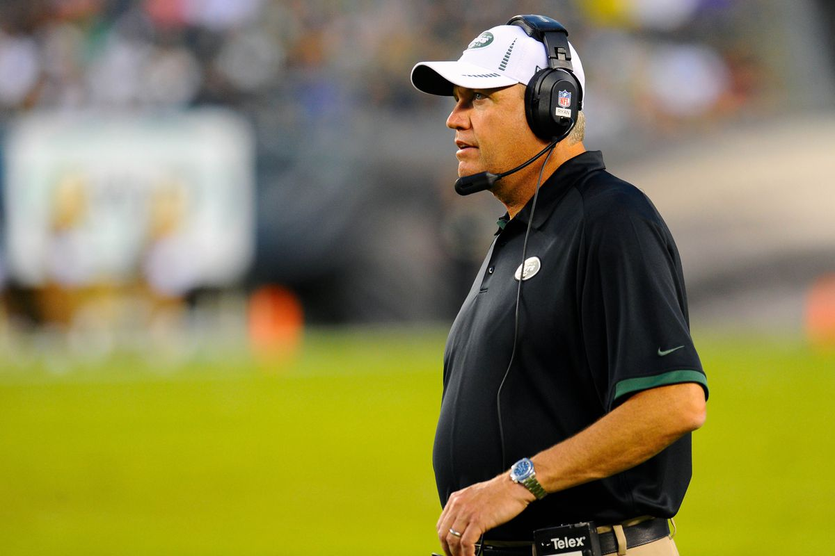 August 30, 2012; Philadelphia, PA, USA; New York Jets head coach Rex Ryan watches on the sidelines against the Philadelphia Eagles during the second quarter at Lincoln Financial Field. Dale Zanine-US PRESSWIRE