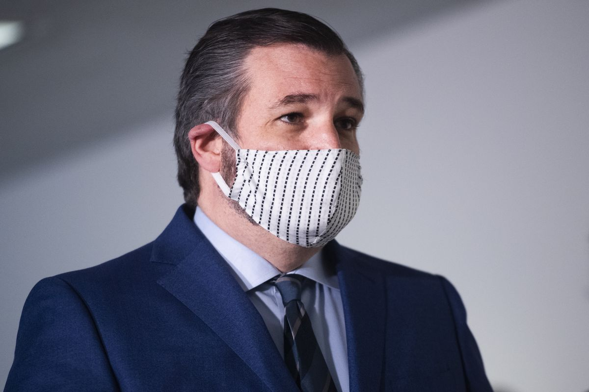 Ted Cruz with a face mask on.