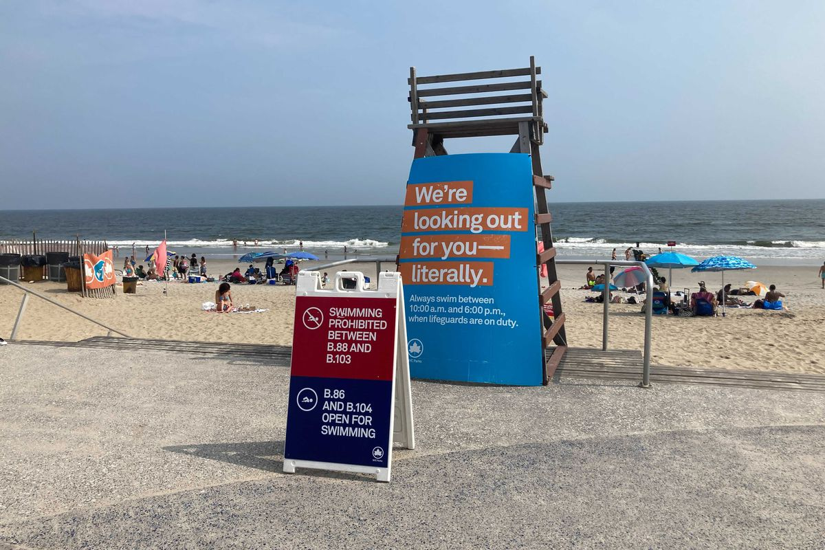 An empty lifeguard station near Beach 96th Street in The Rockaways. Aug. 10, 2021.